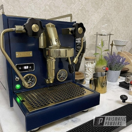 Powder Coating: Kitchen,Blue Zircon PMB-8063,Drinkware,Brassy Gold PPS-6530,Golden Brass II PPB-4507,Coffee Machine,Household