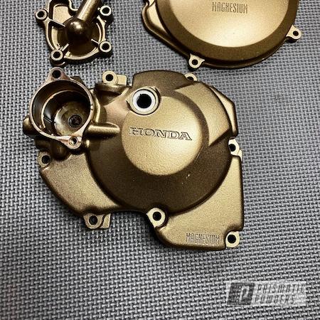 Powder Coating: Motorcycle Parts,Tomic Black EMB-1046,Honda,Motorcycles,Stator Cover,Honda Parts,Clutch Cover