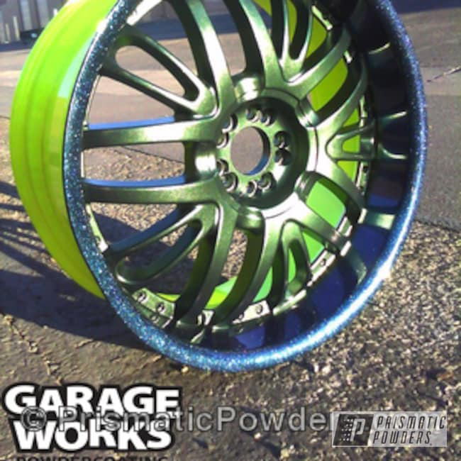 Powder Coating: Wheels,Yellow,Teal,Chameleon Teal PPB-5733,Neon Yellow PSS-1104,powder coated