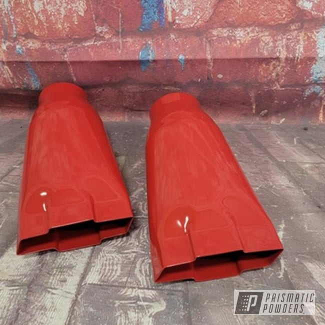 Powder Coating: Automotive,Chevrolet,Exhaust,Exhaust Tips,RAL 3002 Carmine Red,Automotive Parts