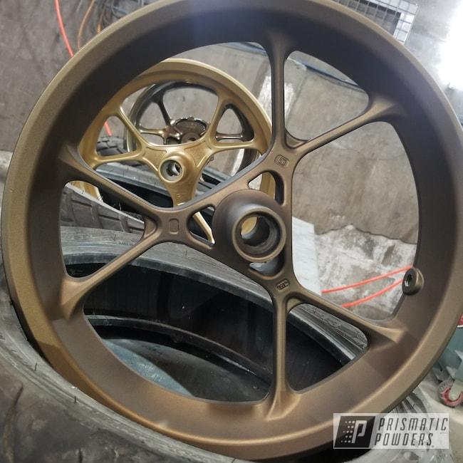 Powder Coating: Wheels,Rims,Bronze Chrome PMB-4124,Satin Poly Gold PMB-6487,Motorcycle Rim,Casper Clear PPS-4005