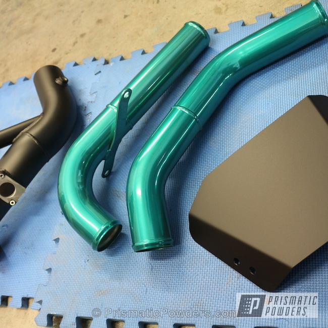 Powder Coating: Automotive,Evolution X,FLAT BLACK METALLIC UMB-6738,JAMAICAN TEAL UPB-2043,SUPER CHROME USS-4482,chrome,Automotive Parts
