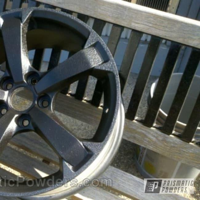 Powder Coating: Wheels,Silver,Wheel,powder coated,Silver Splatter PWB-3044,Textured,Black Texture