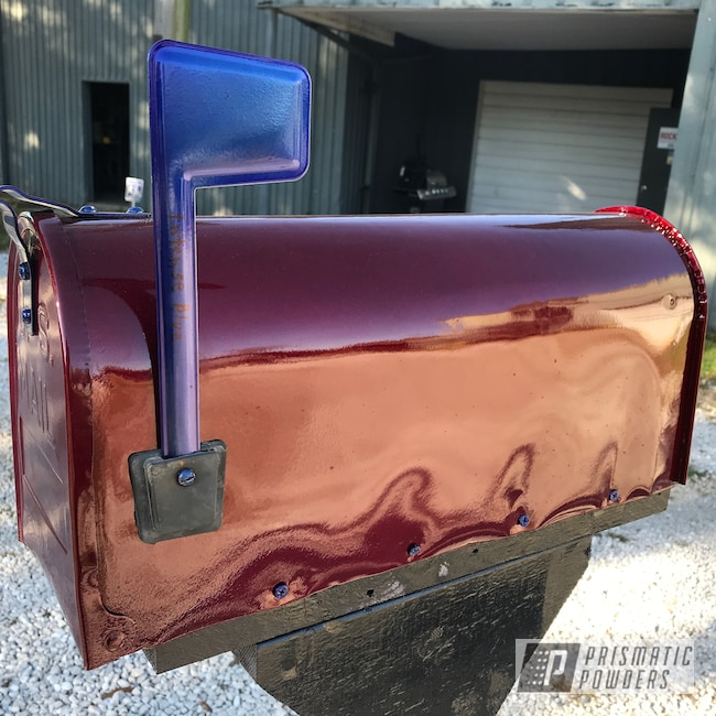 Powder Coating: Clear Vision PPS-2974,Outdoor Decor,Illusion Cherry PMB-6905,Intense Blue PPB-4474,Mailbox,Household