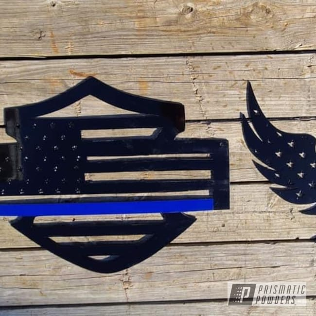 Powder Coating: Metal Art,American Flag,GLOSS BLACK USS-2603,Police,Thin Blue Line,MANHATTAN BLUE UMB-1930