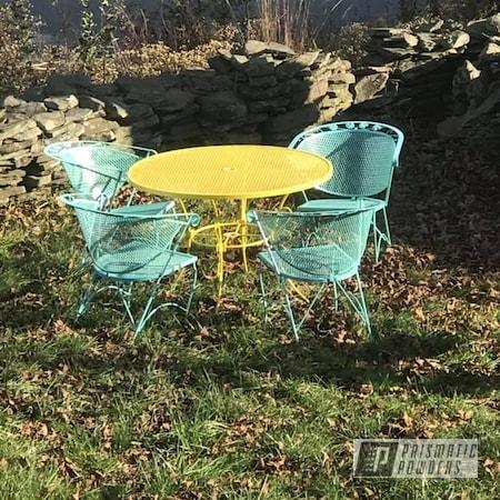 Powder Coating: Patio Chairs,Sea Foam Green PSS-4063,Patio Table,Patio Furniture,Citrus Splash PMB-5705,Antiques,Home Goods,Outdoor Furniture,Patio Set,Outdoor Patio Furniture