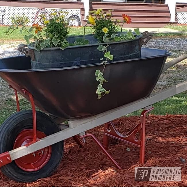Powder Coating: Shattered Glass PPB-5583,Shredded Black PVB-5357,wagon,Performance Red PMB-5644,Farm Goods,Wheelbarrow,Farm Equipment,plow,Wheel Barrow,Primitive Farm