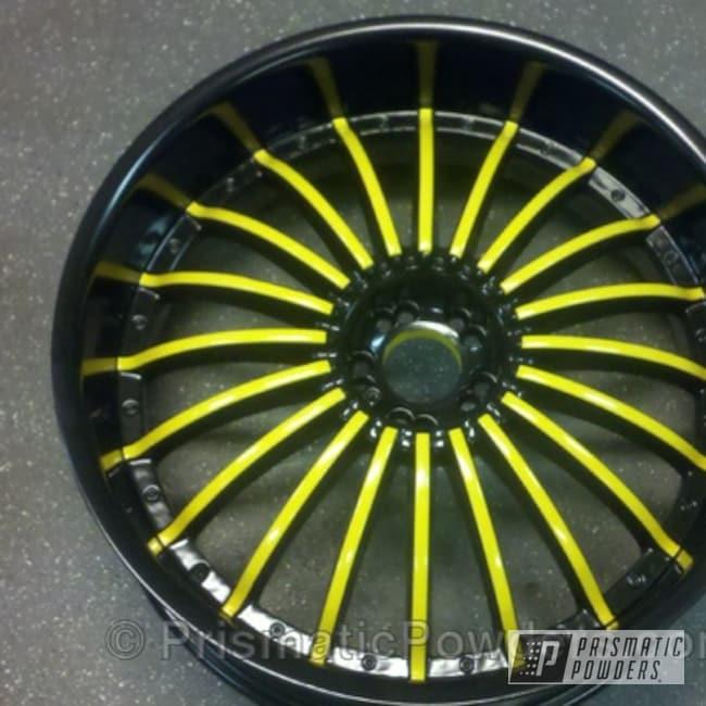 Powder Coating: Card Black PSS-1523,Wheels,Wheel,Yellow,Black,powder coated,spokes,DAFFODIL YELLOW USS-1571