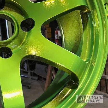 Powder Coating: Wheels,Rims,Auto,Shocker Yellow PPS-4765