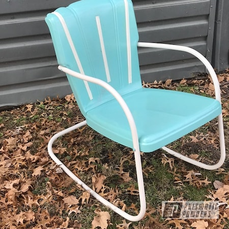 Powder Coating: Gloss White PSS-5690,chair,Pearled Turquoise PMB-8168,Antique Chairs,Furniture