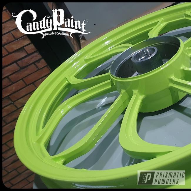 """Powder Coating: Wheels,Chartreuse Sherbert PSS-7068,Rims,15"""" Aluminum Rims"""