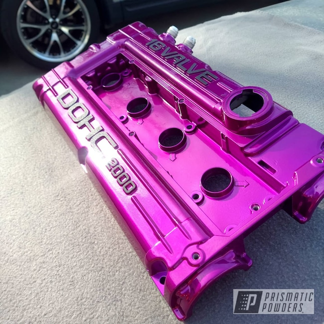 Powder Coating: Splatter Black PWS-4344,Automotive,Clear Vision PPS-2974,Valve Covers,2 stage,Two Tone,Illusion Violet PSS-4514,Valve Cover,4 Cylinder,Two Toned