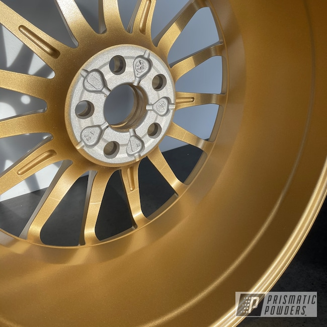 """Powder Coating: Wheels,19"""" Wheels,Soft Clear PPS-1334,Two Stage Application,Rims,Spanish Gold EMS-0940"""