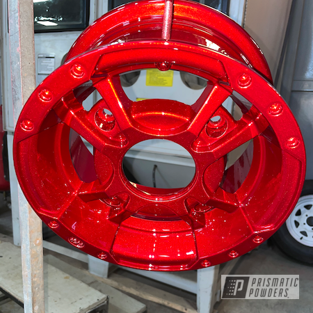 Powder Coating: Wheels,Heavy Silver PMS-0517,ATV,Custom Yamaha Raptor 700,ITP,Raptor 700,Deep Red PPS-4491