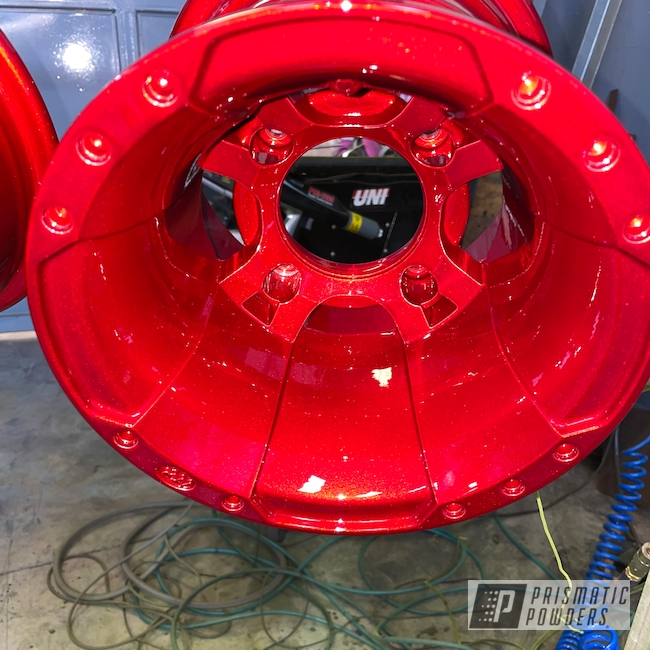 Powder Coating: Wheels,Heavy Silver PMS-0517,ATV,Custom Yamaha Raptor 700,ITP,Raptor 700,Deep Red PPS-4491
