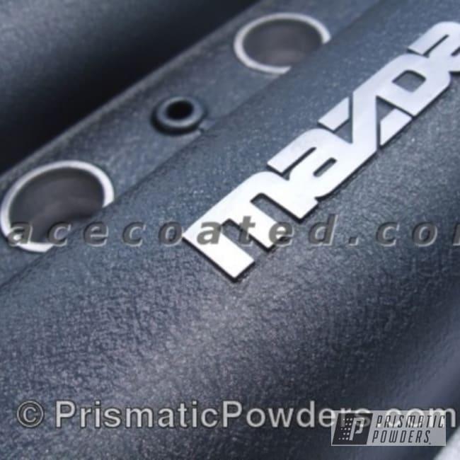 Powder Coating: Automotive,textered,Mazda,powder coated,Valve Cover,Desert Charcoal Wrinkle PWB-2767,grey