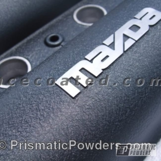 Powder Coating: Automotive,textered,Mazda,powder coated,Grey,Valve Cover,Desert Charcoal Wrinkle PWB-2767