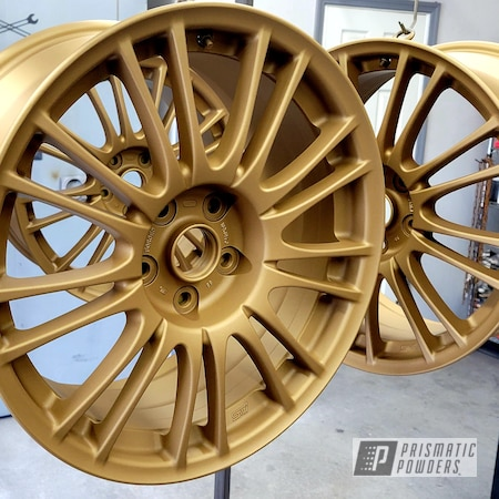 Powder Coating: Wheels,Two Stage Application,Rims,Satin Poly Gold PMB-6487,Casper Clear PPS-4005