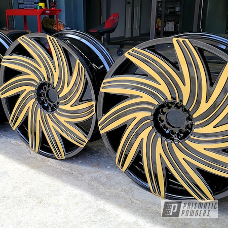 Powder Coating: Wheels,Clear Vision PPS-2974,Rims,Ink Black PSS-0106,Two Tone Wheels,Two Tone,Spanish Gold EMS-0940