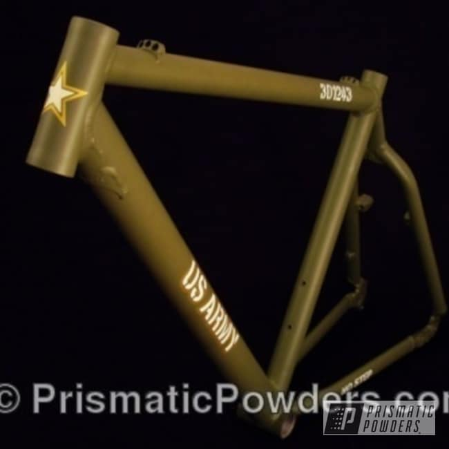 Powder Coating: Bicycles,US Army,Army Green PSB-4944,Bicycle Frame,Prismatic Powder Coating,Army Green
