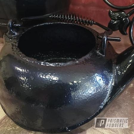 Powder Coating: Yard Art,Vintage Cast Iron,Vintage,Outdoor Decor,Diamond Blue PMB-4042,Cast Iron Pot