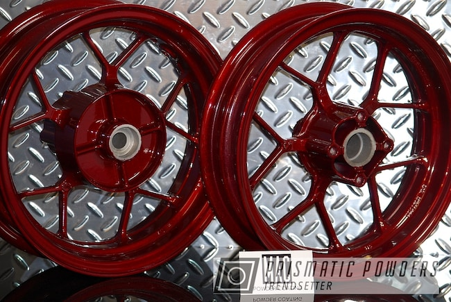"""Powder Coating: Wheels,Clear Vision PPS-2974,Rims,Scooter,12"""" Wheels,Honda,Illusion Cherry PMB-6905,Motorcycles"""