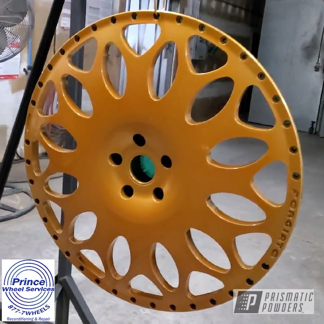 Powder Coating: Wheels,Alloy Wheels,Wheel Faces,POLISHED ALUMINUM HSS-2345,Rims,Wheel Centers,Candy Gold PPB-2331,Forgiato,Two Piece Wheel