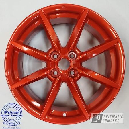 Powder Coating: Wheels,Alloy Wheels,Clear Vision PPS-2974,Rims,Mazda,Illusion Red PMS-4515,Illusions,Mazda Wheels,Aluminum Wheels