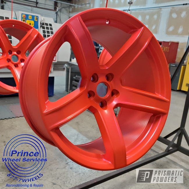 Powder Coating: Wheels,Alloy Wheels,Rims,Dodge,Dodge Charger Wheels,Hellcat Charger,Flat Corkey Red PPB-10141,Aluminum Wheels