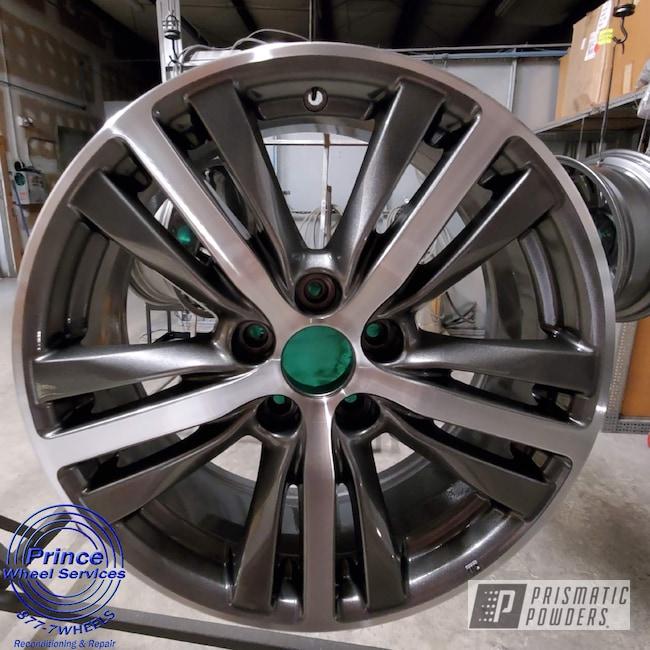 Powder Coating: Wheels,Alloy Wheels,Clear Vision PPS-2974,2 Color Application,2 Tone,Rims,Kingsport Grey PMB-5027,Infiniti,QX60,Aluminum Wheels,Machined Face Wheels