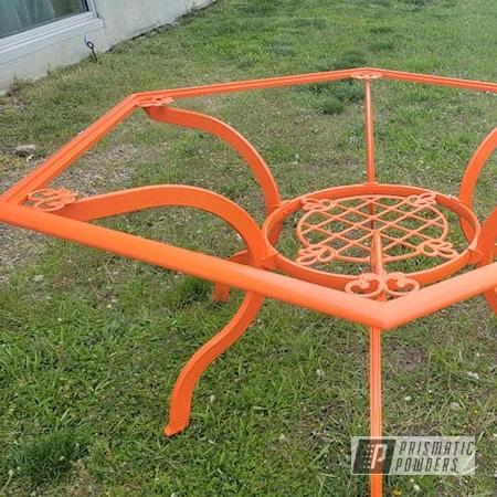 Powder Coating: Patio Table,Custom Outdoor Furniture,RAL 2004 Pure Orange,Vintage Furniture,Outdoor Patio Furniture,lawn furniture