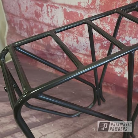 Powder Coating: Cargo Racks,2 Color Application,POLISHED ALUMINUM HSS-2345,Bicycle Parts,Black Chrome III PPB-6677,Bike Racks,Bicycle Cargo Racks,Luggage Racks