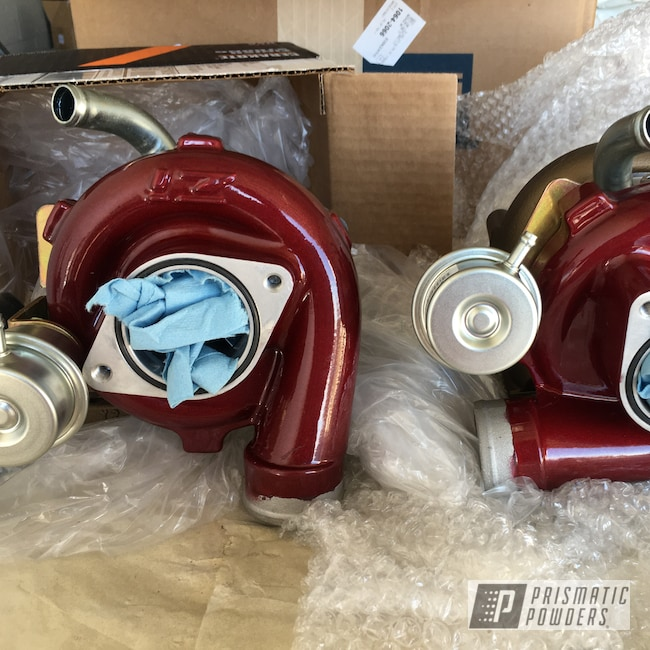 Powder Coating: Automotive,Turbo Parts,Clear Vision PPS-2974,Illusion Cherry PMB-6905