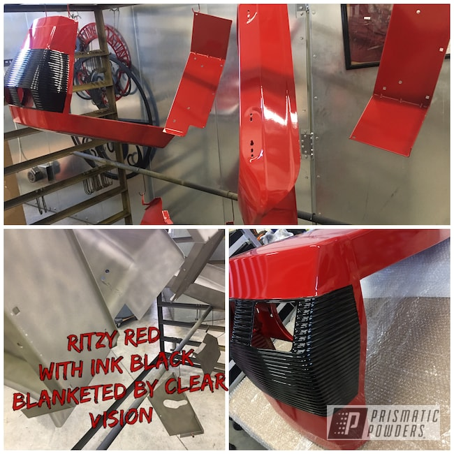 Powder Coating: Automotive,Ritzy Red PSS-2993,Clear Vision PPS-2974,Tractor Parts,2 Color Application,Ink Black PSS-0106,2 Stage Application,Restoration,Tractor,Tractor Restoration