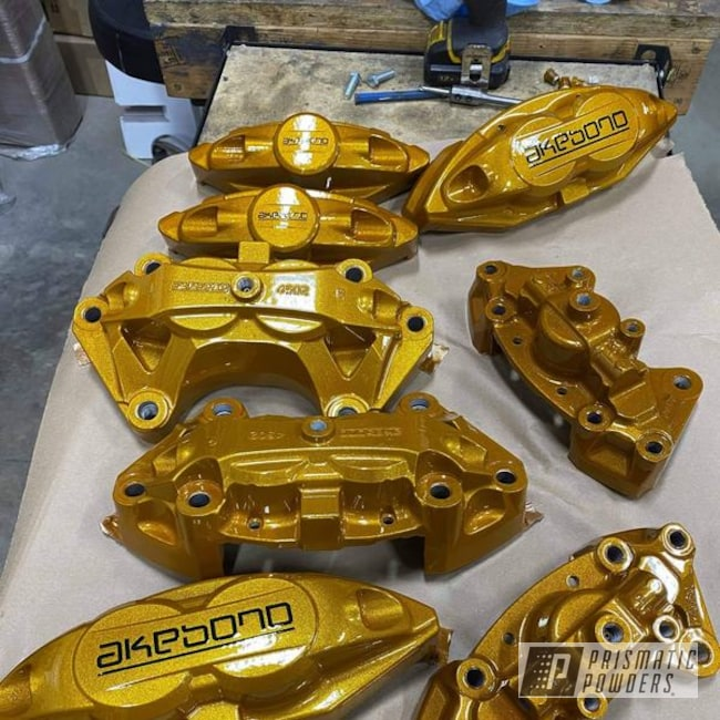 Powder Coating: Calipers,Clear Vision PPS-2974,Illusion Spanish Fly PMB-6920,Brake Calipers,Akebono