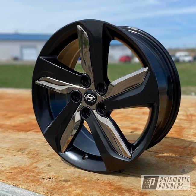 "Powder Coating: Wheels,Alloy Wheels,BLACK JACK USS-1522,Rims,Black,18"" Aluminum Rims,Hyundai"