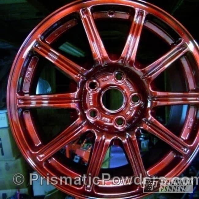Powder Coating: Wheels,wheel,red,powder coated,Alien Silver PMS-2569,Oxblood Ransom PPB-4537