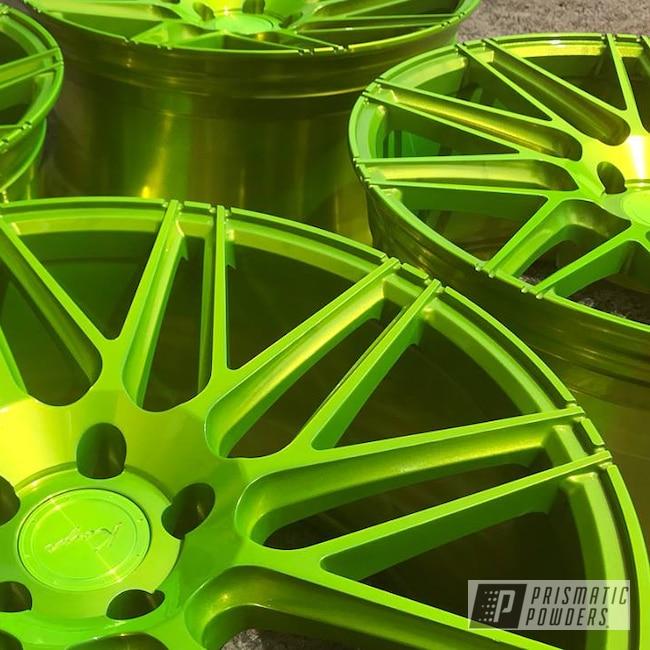 Powder Coating: Wheels,Automotive,Koya Wheels,Solid Tone,Polished Substrate,Shocker Yellow PPS-4765