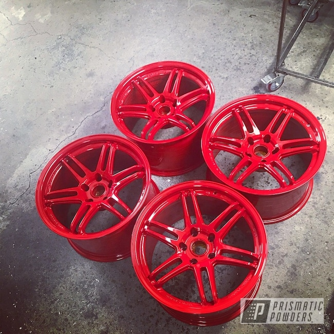 Powder Coating: Wheels,Automotive,Koya Wheels,Solid Tone,Astatic Red PSS-1738