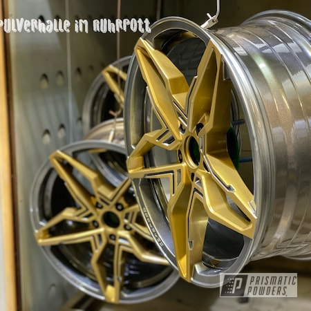 """Powder Coating: Wheels,Two Tone Wheels,19"""" Aluminum Rims,Two Toned,Prismatic Gold HMB-4137,Alloy Wheels,Clear Vision PPS-2974,2 Color Application,Corspeed Kharma,Rims,Hyundai i30 N,Speedway Grey PMB-4911,Two Tone"""