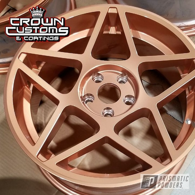 Powder Coating: Wheels,Automotive,Two Stage Powder Application,Clear Vision PPS-2974,Rims,Illusion Rose Gold PMB-10047,Clear Top Coat,Solid Tone