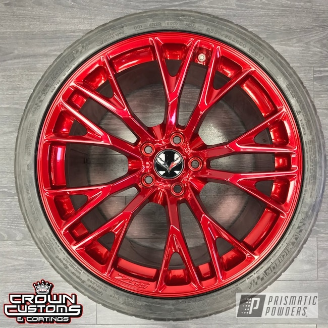Powder Coating: Wheels,Automotive,SUPER CHROME USS-4482,Two Stage Application,chrome,Super Chrome Base Coat,Soft Red Candy PPS-2888,Corvette Wheels