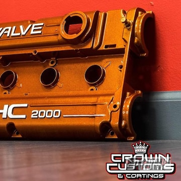 Custom Dohc Valve Cover With Illusion Rootbeer And Clear Vision Powder Coat