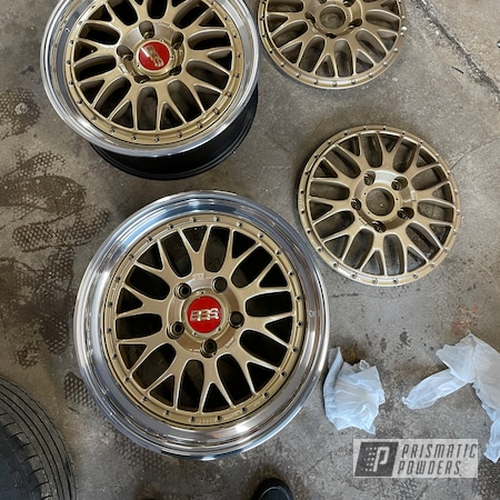 Powder Coating: Wheels,Clear Vision PPS-2974,Wheel Faces,Rims,Sleet Gold PMB-4674