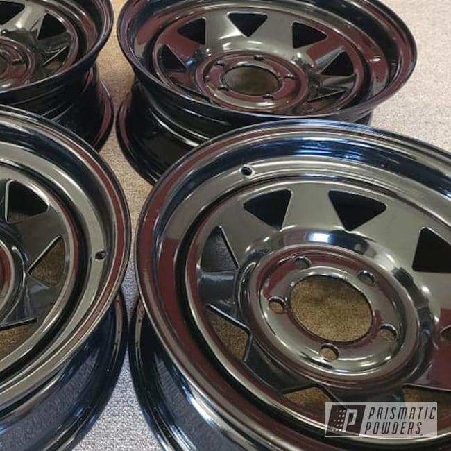 "Powder Coating: Wheels,Automotive,15"" Steel Wheels,Rims,GLOSS BLACK USS-2603,Steel Wheels,Automotive Rims,Automotive Wheels"
