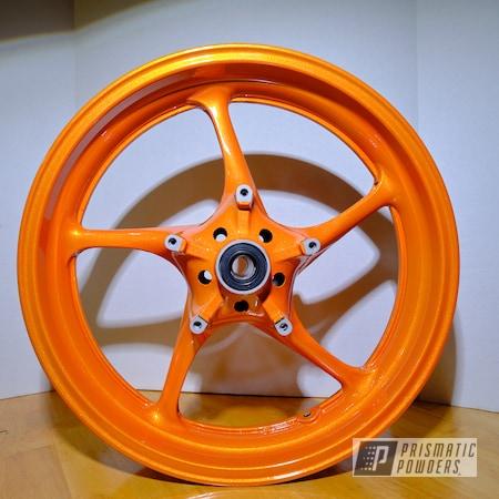 """Powder Coating: Wheels,Clear Vision PPS-2974,Motorcycle Rims,Yamaha,Rims,17"""" Aluminum Rims,17"""" Wheels,Motorcycle Wheels,R6,Motorcycles,Illusions,Illusion Orange PMS-4620"""