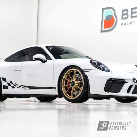 Powder Coating: Wheels,Automotive,Porsche Wheels,Rims,GT3,Porsche 911,Walts Gold PMB-4053,Porsche,Gold Wheels,911 GT3,Gold Single Stage Aurnum,911