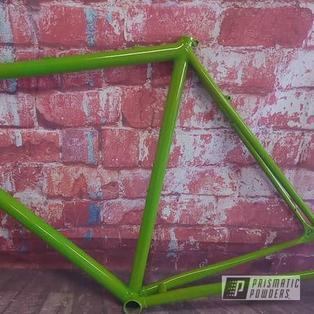Powder Coating: Psycho Yellow PPS-2313,Bike Frame,Altered Green PMB-4947,Bicycle Parts,Bicycle,Bicycle Frame