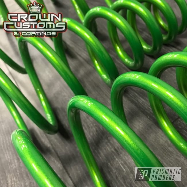 Powder Coating: Clear Vision PPS-2974,Two Stage Application,Green,shock,Springs,Illusion Sour Apple PMB-6913,powder coated,Clear Top Coat