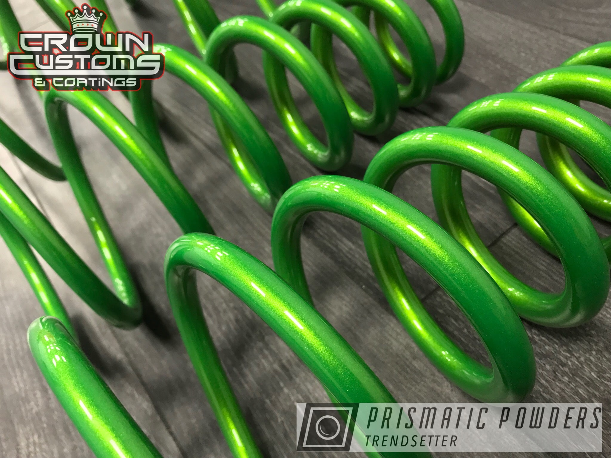 Powder Coating: Clear Vision PPS-2974,Two Stage Application,shock,Springs,Illusion Sour Apple PMB-6913,powder coated,Clear Top Coat,green